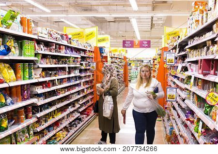MANAVGAT, TURKEY - 1 OCTOBER , 2017: Interior interior of stiles and refrigerators with products of Migros supermarket in Manavgat, Turkey