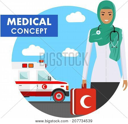 Medical concept. Detailed illustration of arabic muslim medical people in uniform on background with medical ambulance car in flat style. Vector illustration.