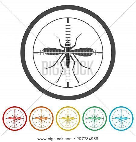 Zika virus icons set, simple vector icon