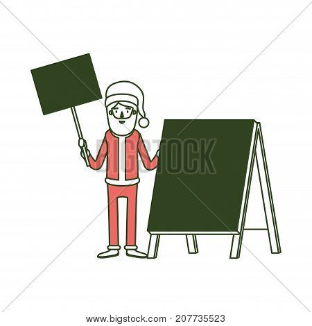 santa claus caricature full body holding a wooden poster and empty advertising with hat and costume on color section silhouette vector illustration