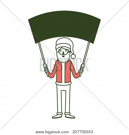 santa claus caricature full body holding a empty poster advertising with hat and costume on color section silhouette vector illustration