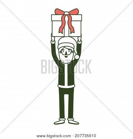santa claus caricature full body holding up a gift with hat and costume on color section silhouette vector illustration