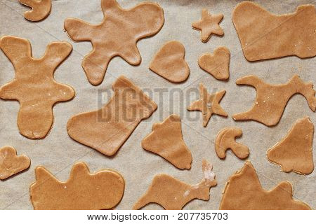Homemade Gingerbread Cookies, Forms And Baking Ingredients.