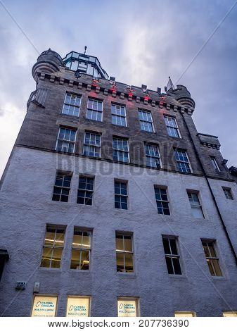 EDINBURGH, SCOTLAND - JULY 28: The Camera Obscura building on the Royal Mile in the Old Town on July 28, 2017 in Edinburgh Scotland. The Camera Obscura is a popular attraction in Edinburgh.
