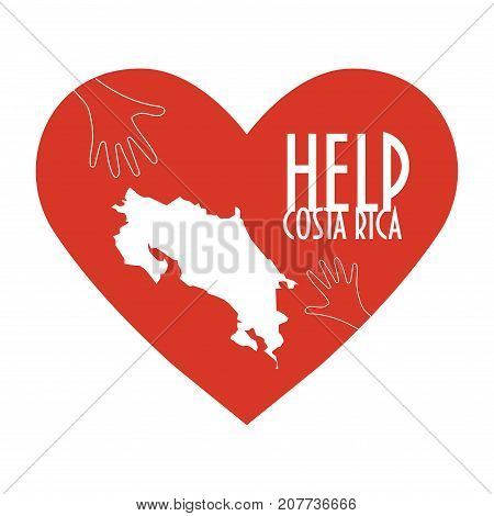 Vector Illustration: helping hands, heart, Costa Rica map. Support for volunteer, donations, charity or relief work after Hurricane Nate, floods, landfalls. Text: Help Costa Rica.