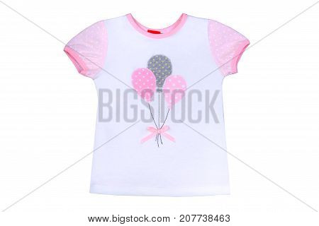 clothes for kids isolated on a white background an undershirt with the drawing for girls