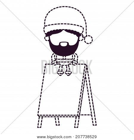 santa claus faceless cartoon sitting on wooden empty blank advertising on dotted monochrome silhouette vector illustration