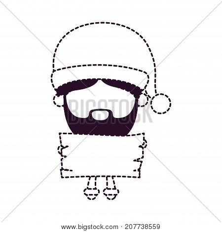 santa claus faceless cartoon holding a wooden piece on dotted monochrome silhouette vector illustration