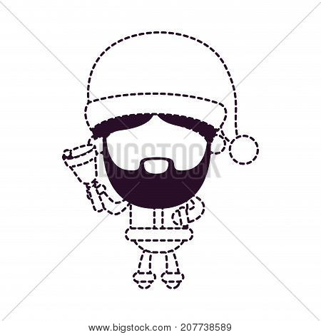 santa claus faceless holding hand bell on dotted monochrome silhouette vector illustration