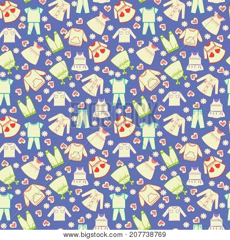 Vector cute background collection of baby and children clothes. Babies fashion collection