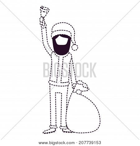 santa claus faceless caricature full body holding a hand bell and gift bag with hat and costume on dotted monochrome silhouette