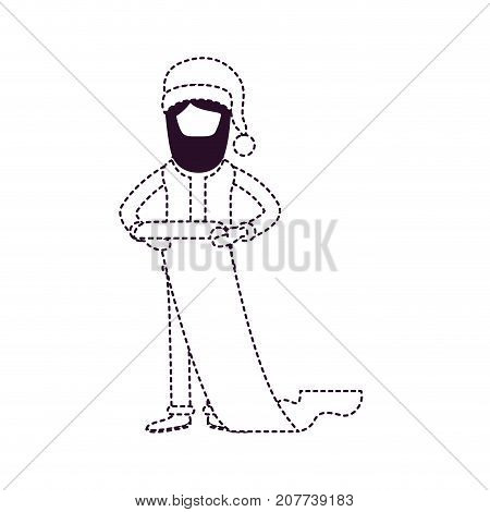 santa claus faceless caricature full body holding a gift list in paper with hat and costume on dotted monochrome silhouette vector illustration