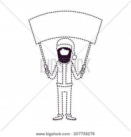 santa claus faceless caricature full body holding a empty poster advertising with hat and costume on dotted monochrome silhouette vector illustration