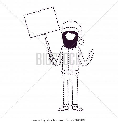 santa claus faceless caricature full body holding a poster with pole with hat and costume on dotted monochrome silhouette vector illustration