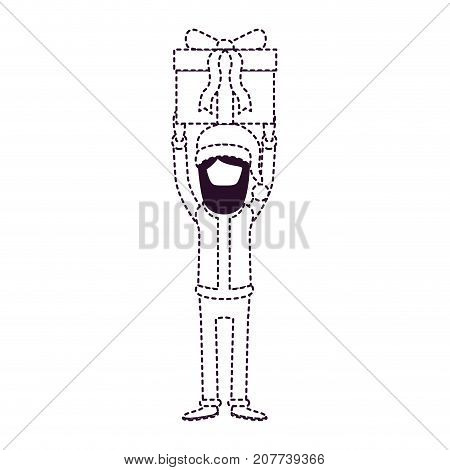 santa claus faceless caricature full body holding up a gift with hat and costume on dotted monochrome silhouette vector illustration