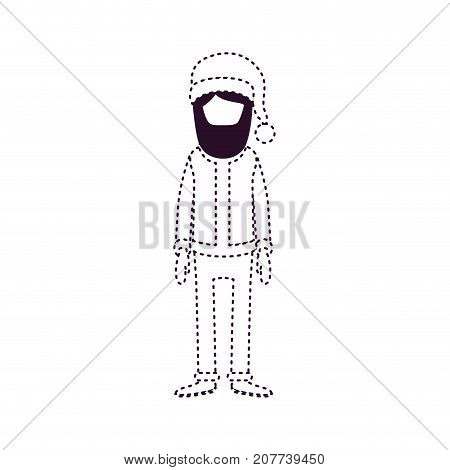 santa claus faceless caricature full body with hat and costume on dotted monochrome silhouette vector illustration