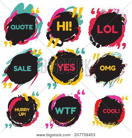 Colored speech quotation set with text on dark background in grunge cartoon style. Dialog bubble symbol.