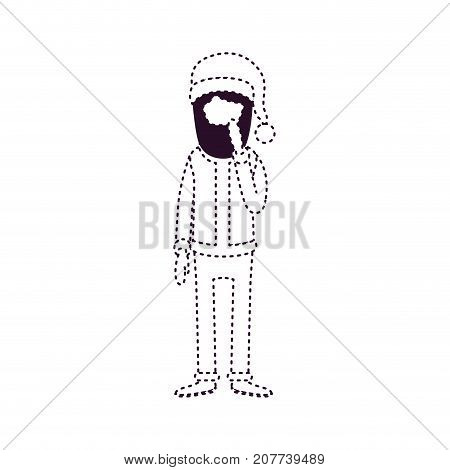santa claus faceless caricature full body with hand in her beard hat and costume on dotted monochrome silhouette vector illustration
