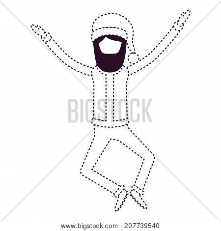 santa claus faceless caricature full body jumping with hat and costume on dotted monochrome silhouette vector illustration