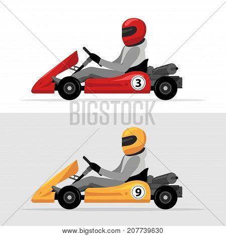 Kart driver sport background. Karting racing isolated, Man drive kart in helmet background design.
