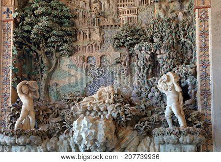 CAPRAROLA, ITALY - OCTOBER 16, 2016:  Palazzo Farnese rustic fountain in Loggia of Hercules
