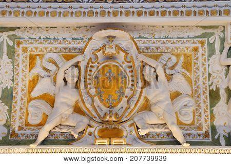 CAPRAROLA, ITALY - OCTOBER 16, 2016:  Palazzo Farnese - Stucco of Loggia of Hercules