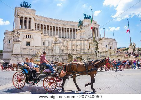 ROME ITALY 24 APRIL 2017. Venezia Square /Piazza Venezia/ and Victor Emmanuel Palace with tourists sightseeing.