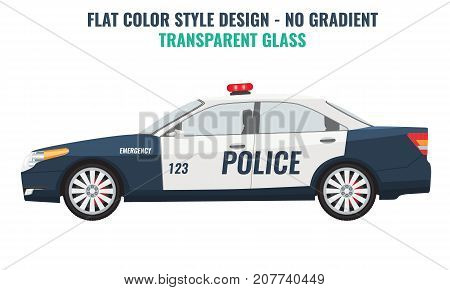 Police car side view. Flat and solid color vector illustration.