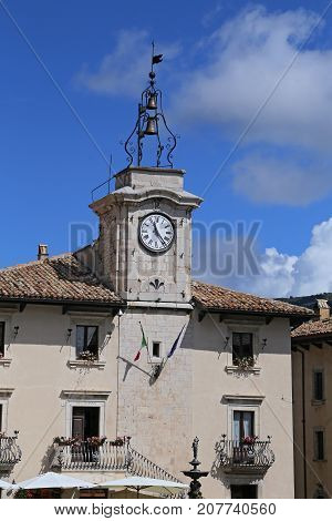 PESCOCOSTANZO ITALY - AUGUST 21 2015: town hall. The mountain village - about 1400 m above sea - Pescocostanzo in the region of Abruzzo Italy