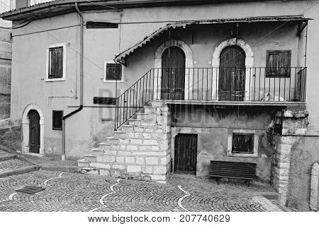 The old italian village of Rivisondoli in Abruzzo Region Italy