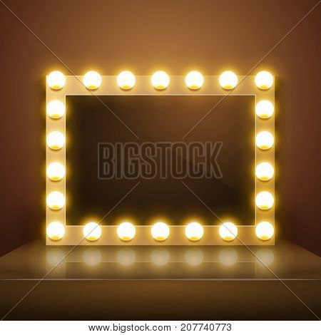 Make up mirror with light. Vector artist dressing room. Make-up mirror.