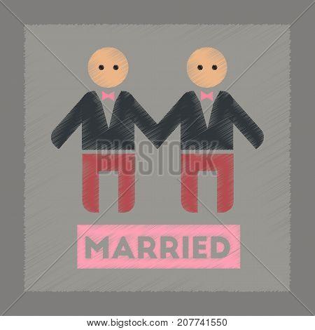 flat shading style icon gays newlyweds wedding