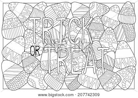 Candy corn sweets vector coloring page. Candy corn with ornament. Halloween coloring page. Candy corn background. Sweet kernel with patterns. Halloween coloring book for children. Trick or treat card