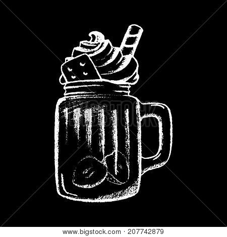 Ice coffee cream white chalk on black chalkboard vector illustration. Dessert drink cup isolated. Dessert in glass cup. Cream top tasty dessert. Sweet coffee drink icon. Cafe or coffee bar menu icon