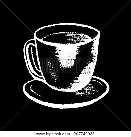 Coffee cup white chalk on black chalkboard vector illustration. Coffee shop icon. Cafe menu handdrawn icon. Cup of coffee chalkboard. Coffee break sign. Hot beverage. Hot drink in small cup on plate