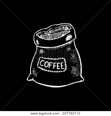 Coffee sack white chalk on black chalkboard vector illustration. White chalk burlap sack. Rustic coffee sack. Coffee bean package. Blackboard coffee bag icon. Cafe or shop logo. Vintage burlap bag