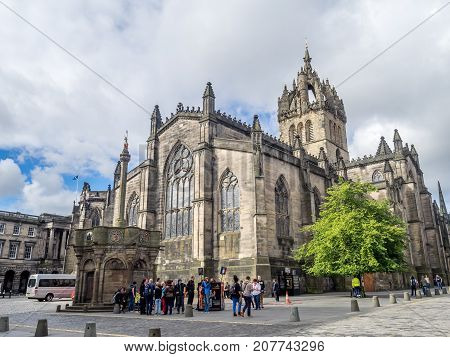 EDINBURGH, SCOTLAND - JULY 30: Buildings and shops on the Royal Mile on July 30 2017 in Edinburgh, Scotland. The Royal Mile is one of the premiere tourist attractions in the United Kingdom.