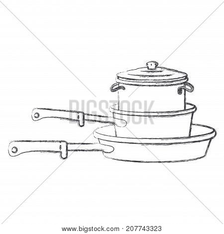 stewpan and cooking pot stack monochrome blurred silhouette vector illustration