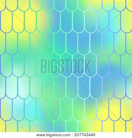 Fantastic fish skin vector background with scale pattern. Mermaid pattern. Pale gradient mesh. Summer blurry vector background. Fish skin seamless pattern. Mermaid scale background. Pastel fishscale