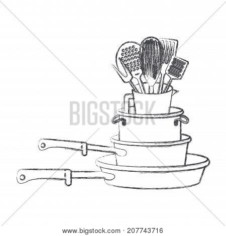 stewpan stack and kitchen utensils monochrome blurred silhouette vector illustration