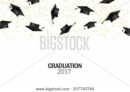 Graduate caps and gold confetti on white background. Education hat ceremony university achievement.