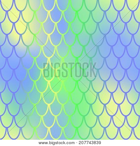 Fantastic fish skin vector background with scale pattern. Mermaid pattern. Pale gradient mesh. Abstract blurry vector background. Fish skin seamless pattern. Mermaid skin background. Vibrant fishscale