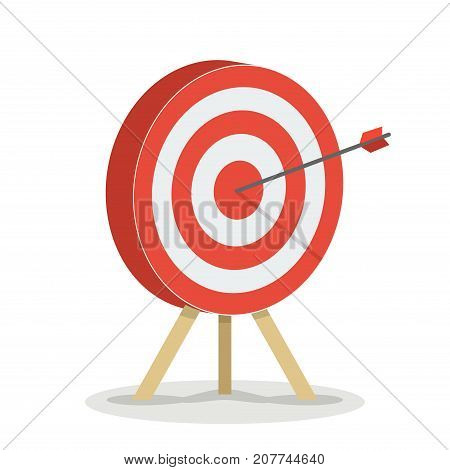 Target with arrow. Business success concept. Vector flat target isolated icon.