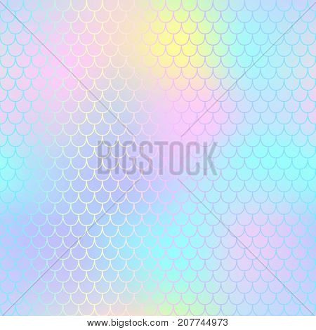 Fantastic fish skin pattern with scale ornament. Fishscale vector background. Pale mermaid tail texture. Magic mermaid seamless pattern. Candy color pastel backdrop. Mermaid tail seamless pattern tile