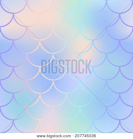 Fish skin pattern with fishscale ornament. Fishscale vector background. Vibrant mermaid skin background texture. Magic mermaid seamless pattern. Pastel color backdrop. Grandient mesh seamless pattern