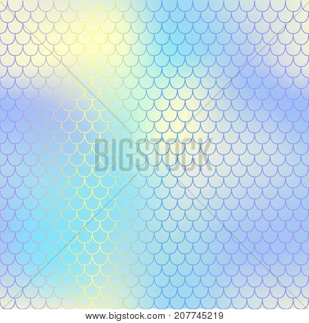 Shiny fish skin pattern with scale ornament. Fishscale vector background. Pastel mermaid skin background texture. Magic mermaid seamless pattern. Blue and yellow gradient mesh seamless pattern tile