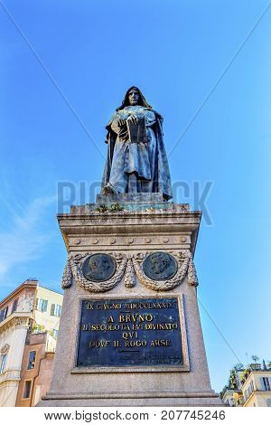 Giiordano Bruno Statue Campo de' Fiori Rome Italy. Bruno was heretic burned at stake in Campo de' Fiori. Statue by Ferrari in 1889