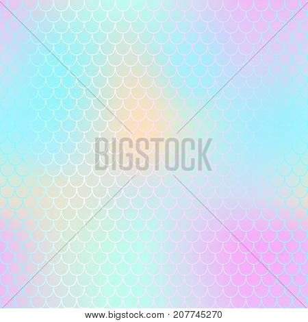 Magic mermaid fishscale pattern. Abstract blurry vector background. Fantastic fish skin seamless pattern. Mermaid scale background. Pastel colors fish scale seamless tile. Pink cyan blurred mesh