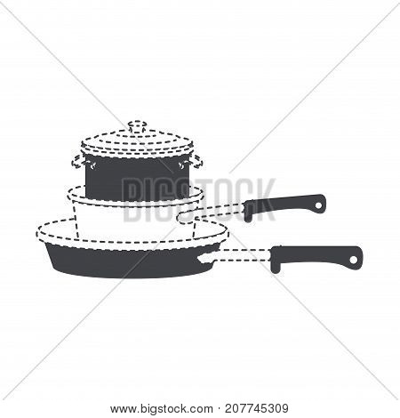 stewpan and cooking pot stack black silhouette and dotted contour vector illustration