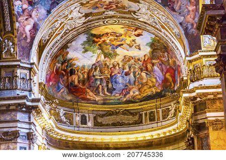 ROME, ITALY - JANUARY 20, 2917 Jesus Teaching Fresco Santa Maria Maddalena Church Rome Italy. Church named for Saint Mary Magdalene built in the 16 and 1700s fresco by Carlos Fontana in 1700s